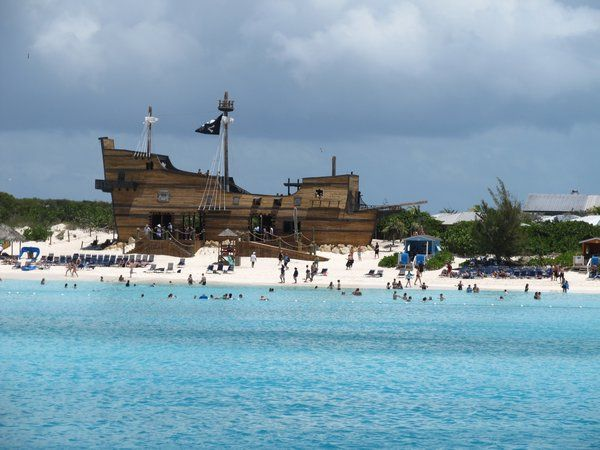 Half Moon Cay, Bahamas. This pirate ship is awesome. Its a bar down stairs and upstairs on the top deck had a beautiful arial view of the beach and turquoise blue water.