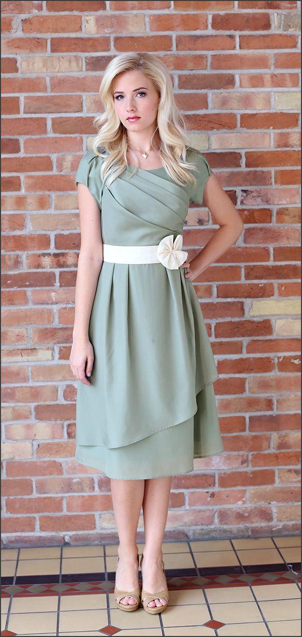 Modest Bridesmaid Dresses/ Jasmine Sage Dress/ www.sierrabrooke.com