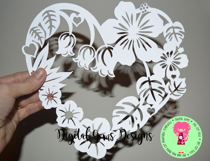 Flower Heart Frame Papercut Template, SVG / DXF Cutting File for Cricut / Silhouette & PDF Printable For Hand Cutting, Digital Download, by DigitalGems on Etsy