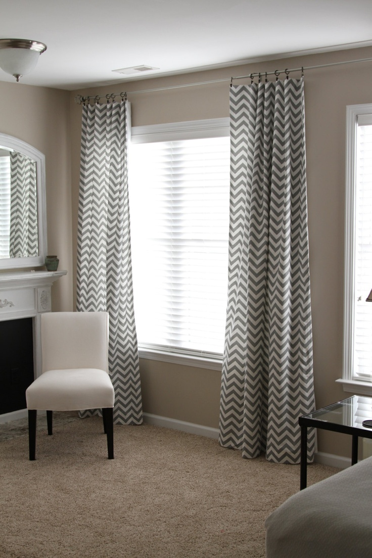Gray chevron curtain panels - Chevron Stripe Curtain Panels 130 00 Via Etsy
