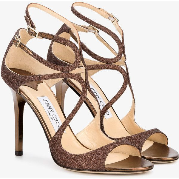 Jimmy Choo Paloma Lang Heeled Sandals (5825 MAD) ❤ liked on Polyvore featuring shoes, sandals, ankle strap shoes, strappy heeled sandals, brown strappy sandals, leather strap sandals and ankle strap stilettos #brownsandalsheels #strappysandalsheels