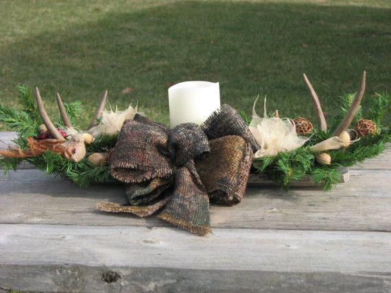 Camo Deer Antler Candle Centerpiece Camo Wedding Centerpiece Rustic Lodge Decor Man Cave Decoration Real Deer Antlers