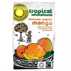 Sun Dried Mango FairTrade, Organic - from Uganda - 100 per cent pure fruit, no preservatives, technology used is simple and environmentally responsible. Tropical Wholefoods work with over 700 farmers in Uganda providing training as well as guaranteed prices and markets.