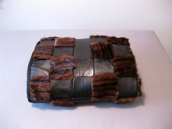 Handmade Patchwork Quilt of Vintage Leather Mink Fur Twin Bed Top Modern Elegant Couch Lap Sofa Throw Black & Brown Blanket 48 X 60 OOAK by cherehughes, $225.00
