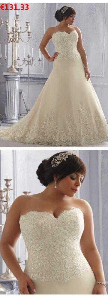 Neue Stile A-Linie Herz-Ausschnitt Sweep/Pinsel Zug aus Organza Günstige Hochzeitskleider für Mollige