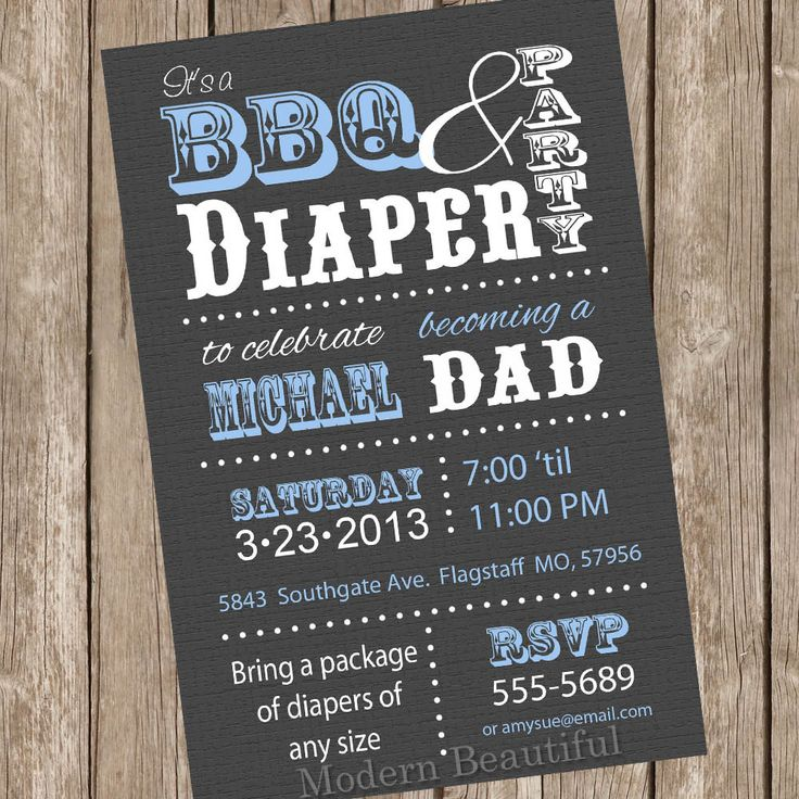 baby shower invitation wording for bringing diapers%0A BBQ and Diaper Baby Shower Invitation Grey and Blue Dad Diaper Invitation  Party Printable Personalized