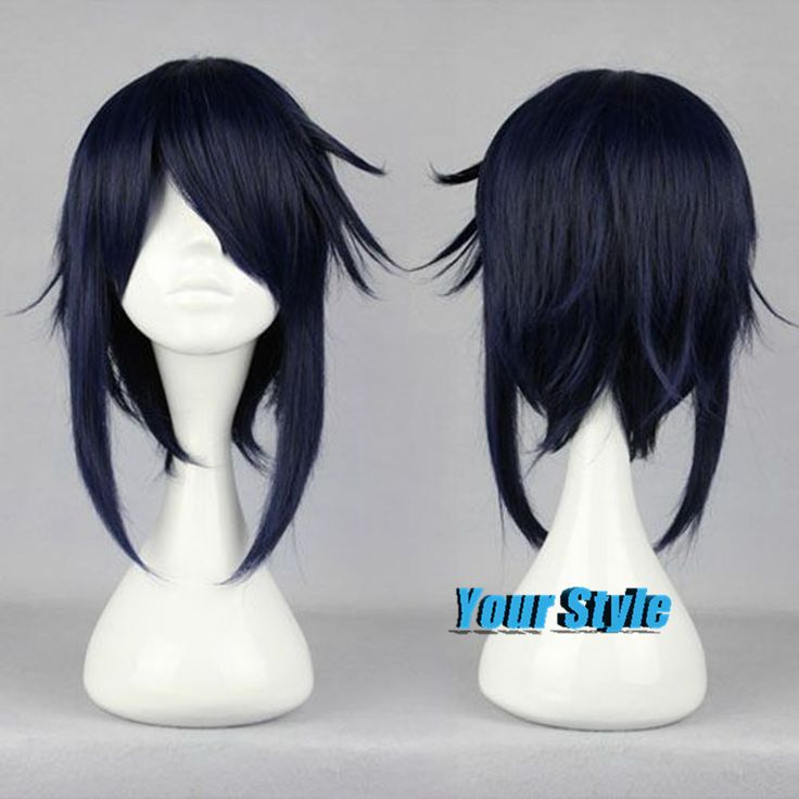 K Munakata Reisi Hair Synthetic Japanese Fiber Cheap Hair Wig  Dark Blue Wig Cosplay Male Wigs Peruca Cosplay Perruque Homme