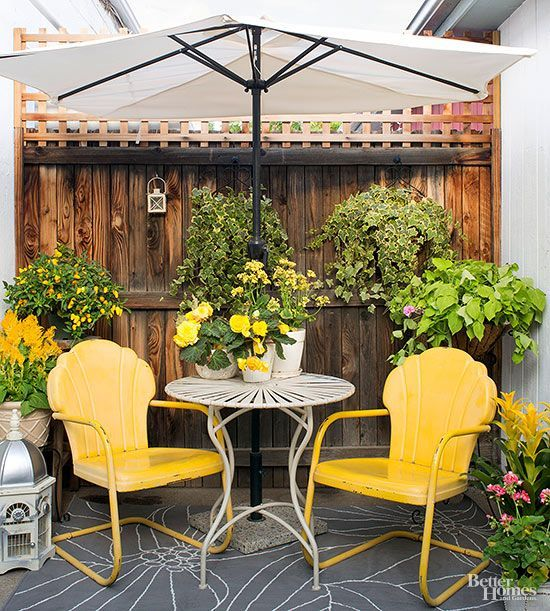 Painted metal lawn chairs (just like Grandma and Granddad's outdoor seating) remain sentimental favorites that blast us back to gentler times. Find original vintage versions at sales, antiques shops, and Internet auction sites; reproduction options are seasonally available at home centers and discount stores. Complete the retro look with an antique iron table and a freestanding umbrella.