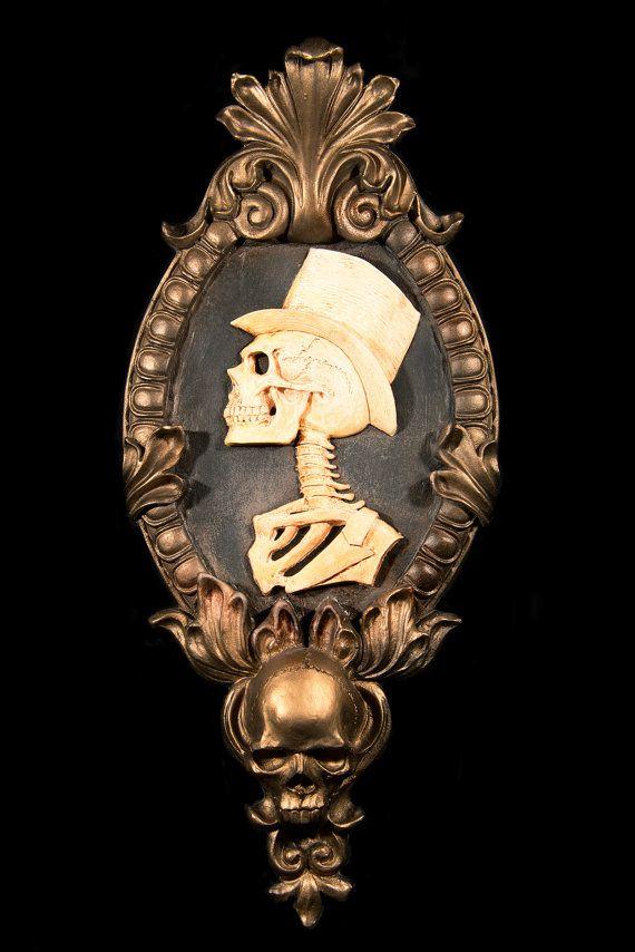 Gothic Victorian Gentleman Skeleton Cameo by NecroticCreations