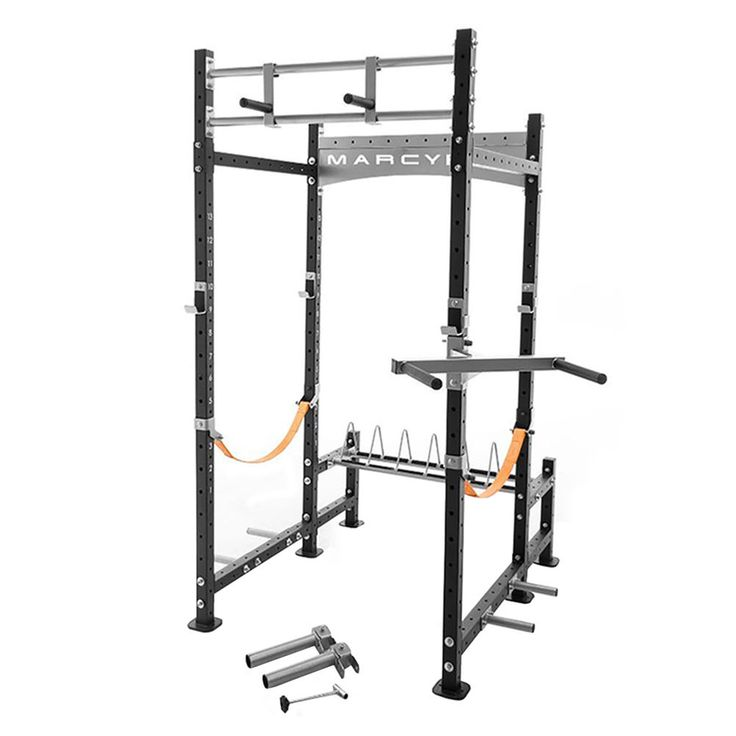 Marcy Pro Heavy-Duty Home Workout Gym Pull Up Weight Training Fitness Power RacMAIN FEATURES Get busy getting stronger with the Marcy Pro Power Rack Power Racks are versatile for a variety of work outs: squats, shrugs, chin ups/pull ups, incline/decline bench press, Nylon safety straps designed to prevent damage to barbell knurling on any missed lift, or to roll the bar safely away from the user on a drop Adjustable height levels for the safety straps Multi-position over head chin up/pull up