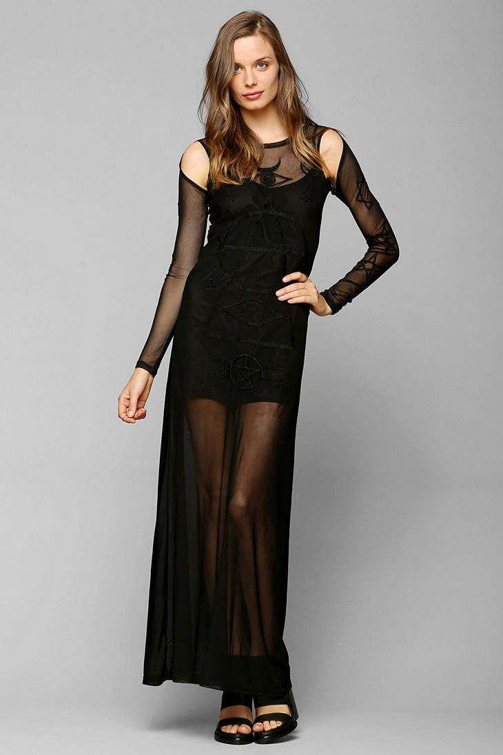 Fashion look from january 2013 featuring see through dress mesh - Unif Embroidered Symbols Mesh Maxi Dress