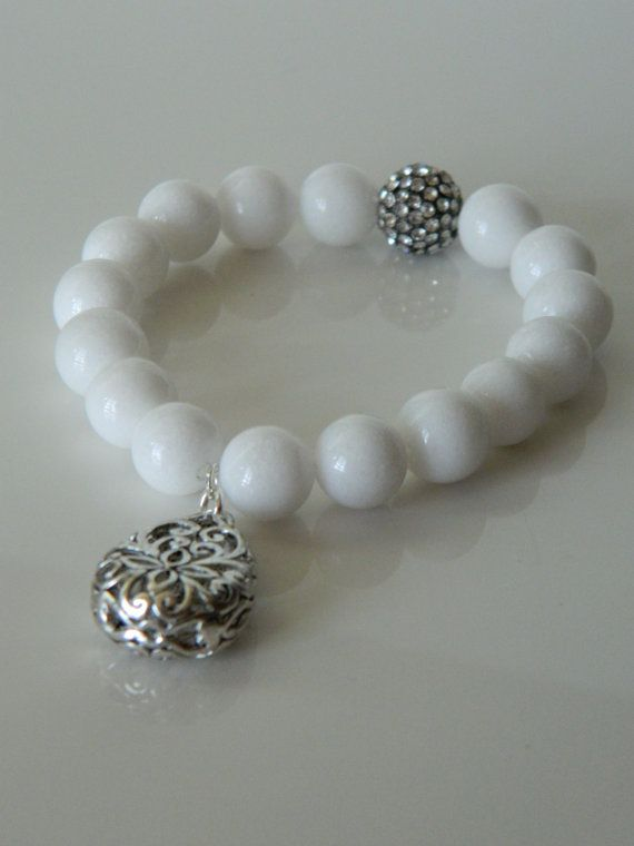 White Beaded Bracelet with Charm by GasiaD on Etsy  Charm or feature bead, not both.