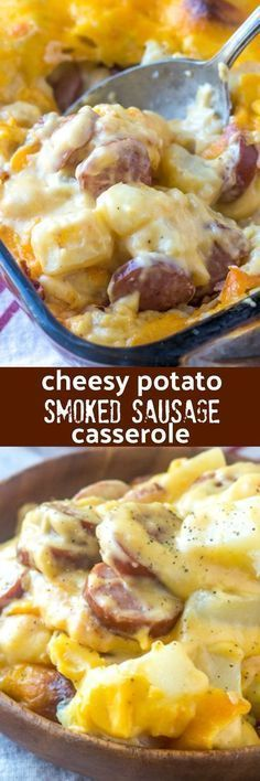 A quick & easy dish to throw together, this Cheesy Potato & Smoked Sausage Casserole is a meat and potatoes kind of dinner everyone can agree on. It's meant to be savored, and shared. #casserole #dinner #cheese #sausage