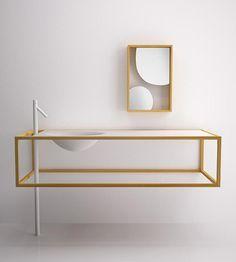 Muebles de baño minimalista en madera de alerce de Bisazza Bagno - Nendo
