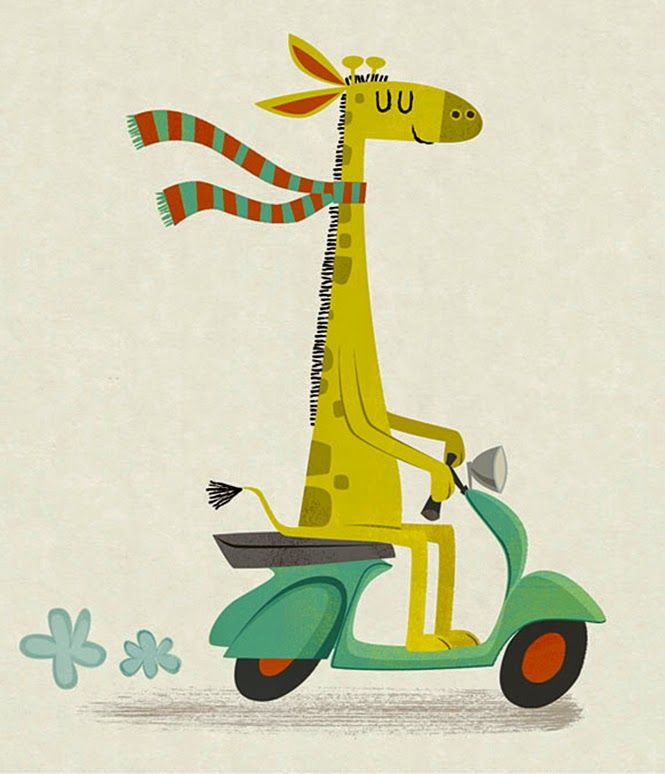 I love giraffes - pretty much the only animal you can wrap in a scarf and put on a motorcycle and they can look completely natural