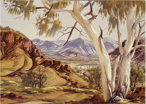 Ghost Gum (Corymbia papuana) in West Macdonnell Ranges,  Central Australia, Northern Territory - Albert Namatjira 1902 - 1959 - Google Search