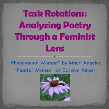 This activity combines literary analysis with the intellectual freedom of task rotations.  Contains instructions, essential questions, poems, and task rotation cards.The unique feature of this product is the task rotation response cards.  For this activity, students use the information generated during the original task rotation to create new knowledge/products.Poems:  Phenomenal Woman by Maya AngelouFearful Women by Carolyn Kinzer