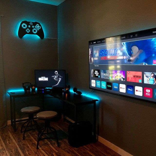 Led Lighted Playstation Controller Wall Art Video Game Art Etsy In 2020 Gaming Room Setup Computer Gaming Room Video Game Rooms