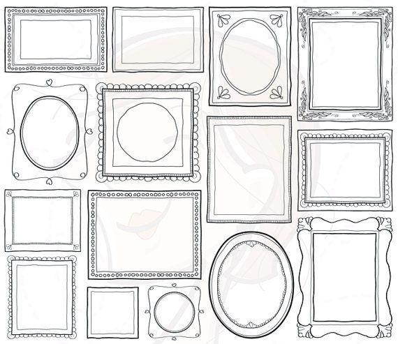 Handdrawn Doodle Clipart Frame Clip Art Commercial Use Decorative Frames Vector Png Files Scrapbook Craft School Teacher Supplies 10465