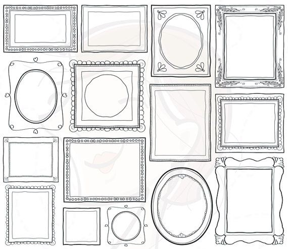 Doodle Picture Frames Decorative Borders Digital Clip Art Cute Scrapbook Supplies Label Tag Drawn Sketches Teacher Photographer 10465 auf Etsy, 4,47 €