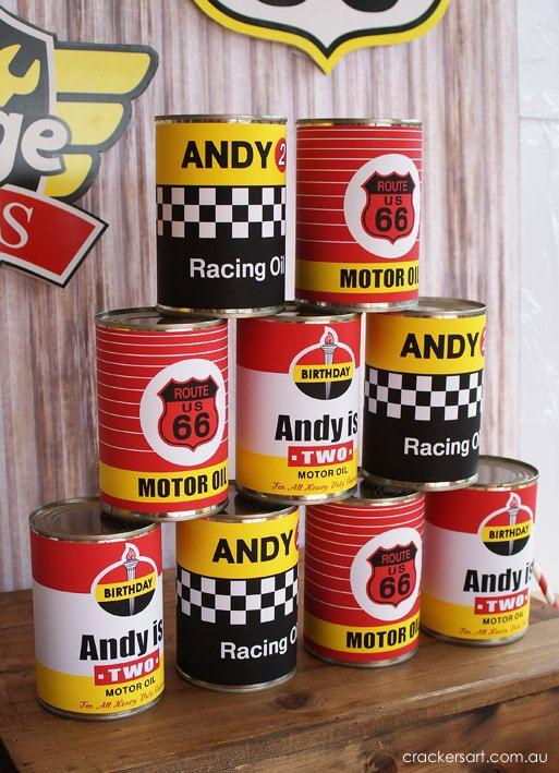 Vintage Car Racing Party - OIL CAN LABELS Printables via Etsy