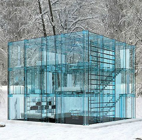 """Glass House designed by Carlo Santambrogio  Whole new meaning to """"People who live in glass houses...""""!"""