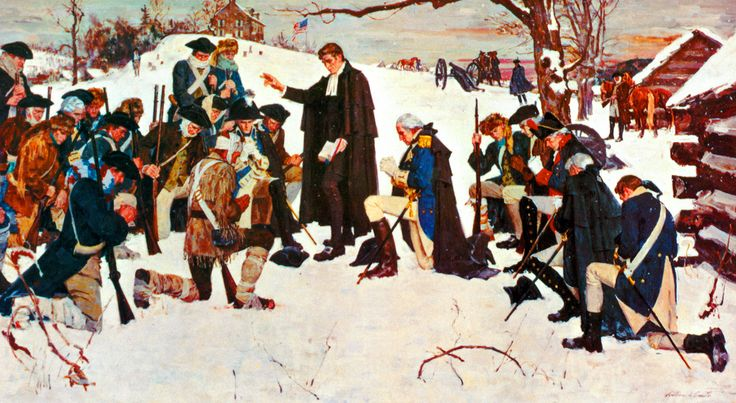 Washington and the Continental army receiving a priest's blessings at Valley Forge