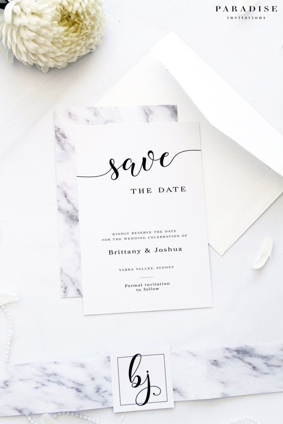 Marble Pink and Grey Save the Date Cards