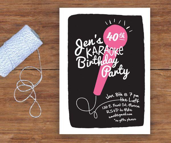 Karaoke Party Invitation by twopoochpaperie on Etsy https://www.etsy.com/listing/166301452/karaoke-party-invitation