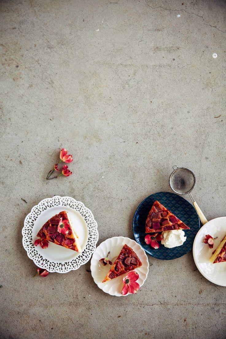 Rhubarb & Marzipan Upside-Down Cake | Hummingbird High