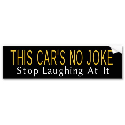 This cars no joke bumper sticker grayson art zazzle