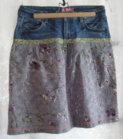 un vieux jean, du coton, des rubans... et voilà une jolie jupe