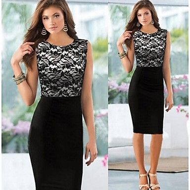 Lace Splicing Sleeveless Bodycon Dress