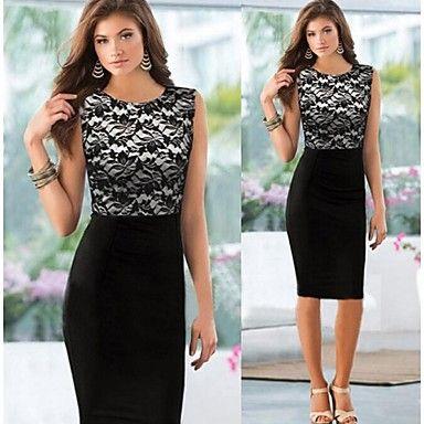 Lace Splicing Sleeveless Bodycon Dress