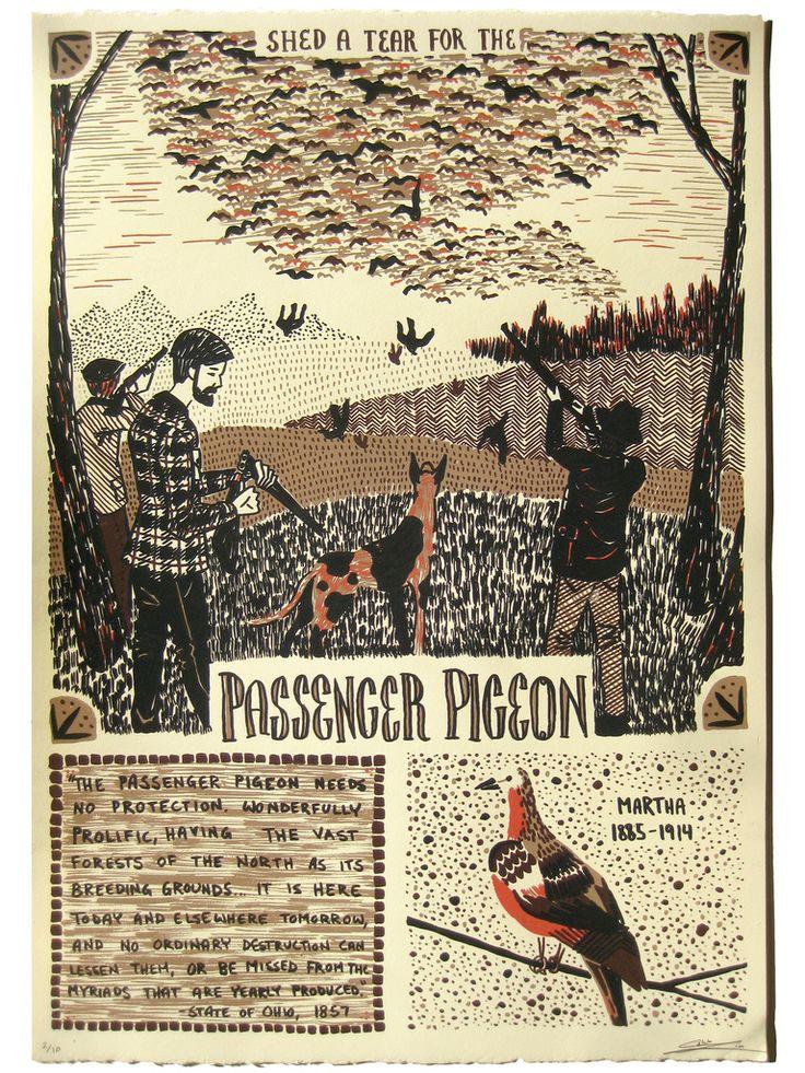 """""""The Passenger Pigeon"""", Caleb Luke Lin 4 Layer Screenprint on 22x15 Stongehenge"""