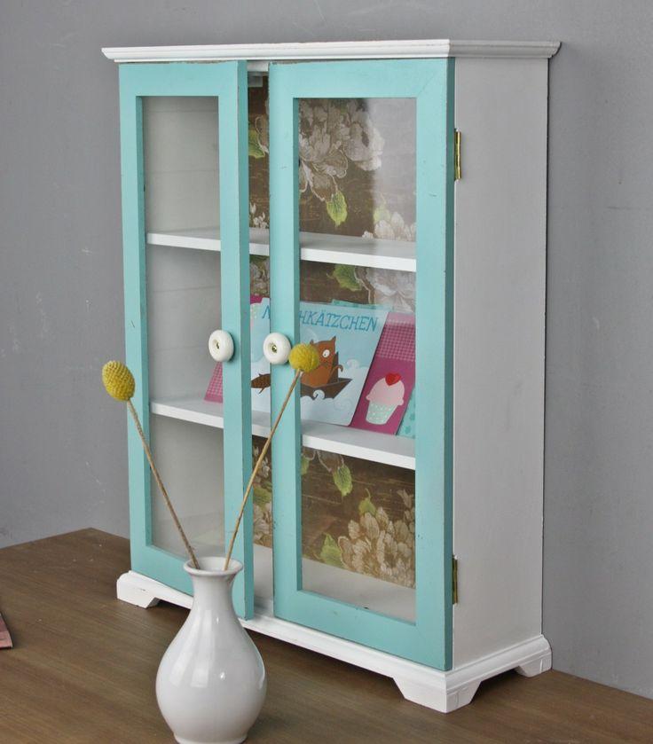Wandregal weiß blau türkis Holz Regal Holzregal NEU Wandschrank Glastür Schrank Glas im Elbmöbel Online Shop