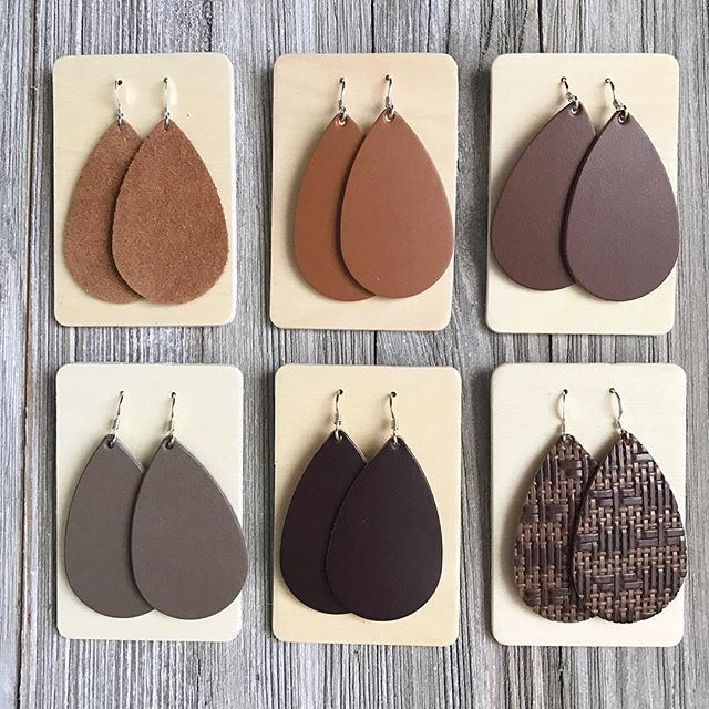 Looking for that perfect brown leather earrings? We have just a few to choose from! Decisions decisions  (From Top Left: Camel Suede, London Tan, Brown. From Bottom Left: Stone, Chocolate, Vintage Tweed) #nickelandsuede #statementearrings #leatheraccessories