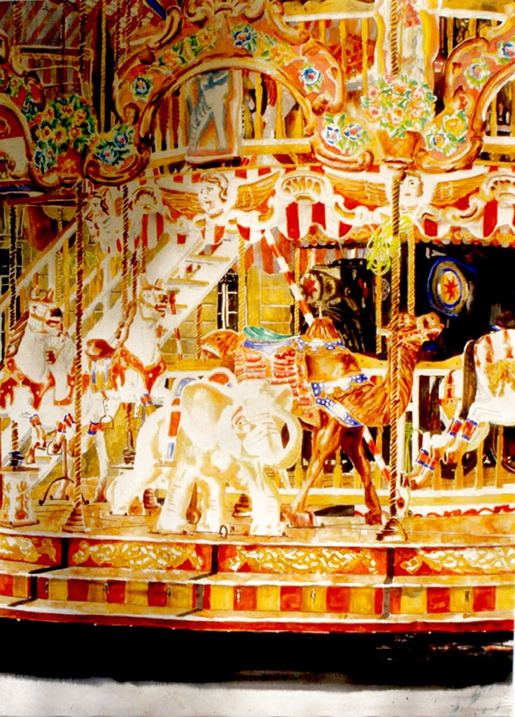 "elephant carousel arles 40"" x 26""  micheal zarowsky / watercolour on arches paper / (private collection)"