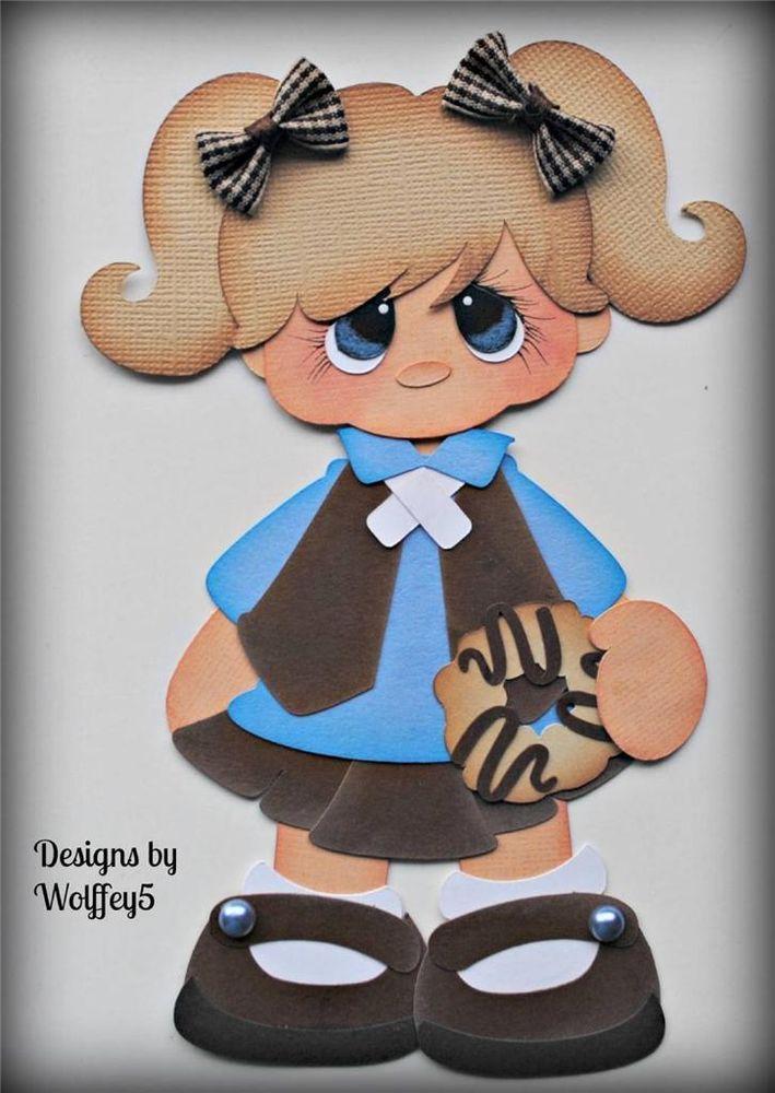 ELITE4U GIRL SCOUT BROWNIE paper piecing premade scrapbook page album  WOLFFEY5