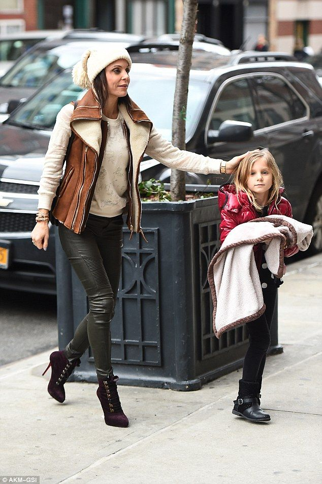 Shearling delight: Bethenny Frankel  stepped out with her daughter in New York City on Fri...