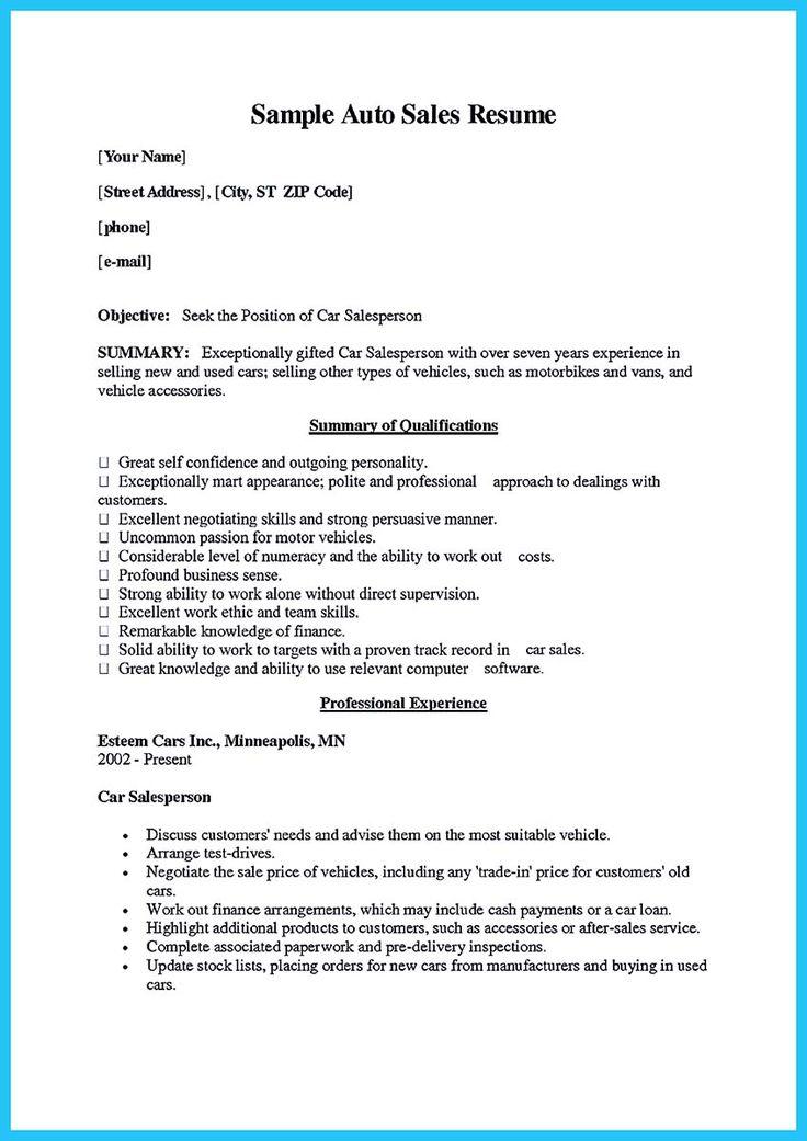 car salesperson resume resume cv cover letter