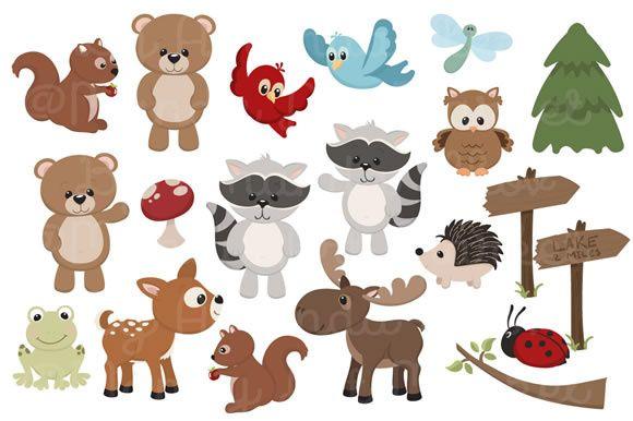 Set Of Cute Woodland Animals Graphic By Amanda Ilkov Creative Fabrica Animal Clipart Free Animal Clipart Baby Animal Prints