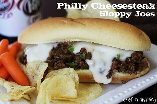 Philly Cheesesteak Sloppy Joes-  (Im not a sloppy joe fan, but maybe I'll like this!)