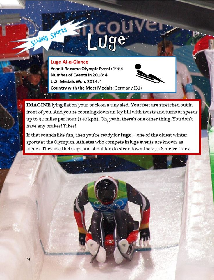 """Luge is one of 15 sports that will be contested at the 2018 Winter Olympics in PyeongChang, South Korea. Learn more about the 15 Olympic sports as well as some Team USA """"Athletes to Watch"""" in """"A Kid's Guide to the 2018 Winter Games"""" for kids ages 9-12 (and their parents, too!) Visit: www.curiouskidspress.com/olympics"""