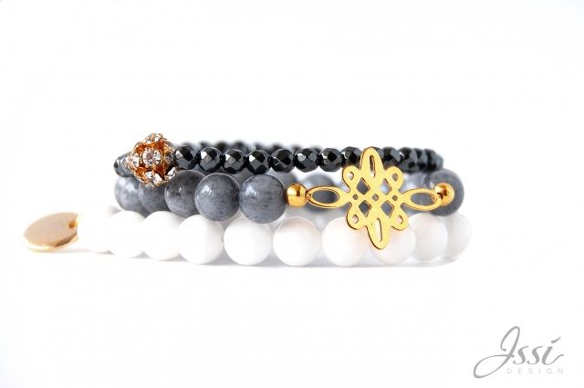 ISSI bracelets set with natural stones and gold plattered silver . Shipping worldwide!  Www.issi.com.pl