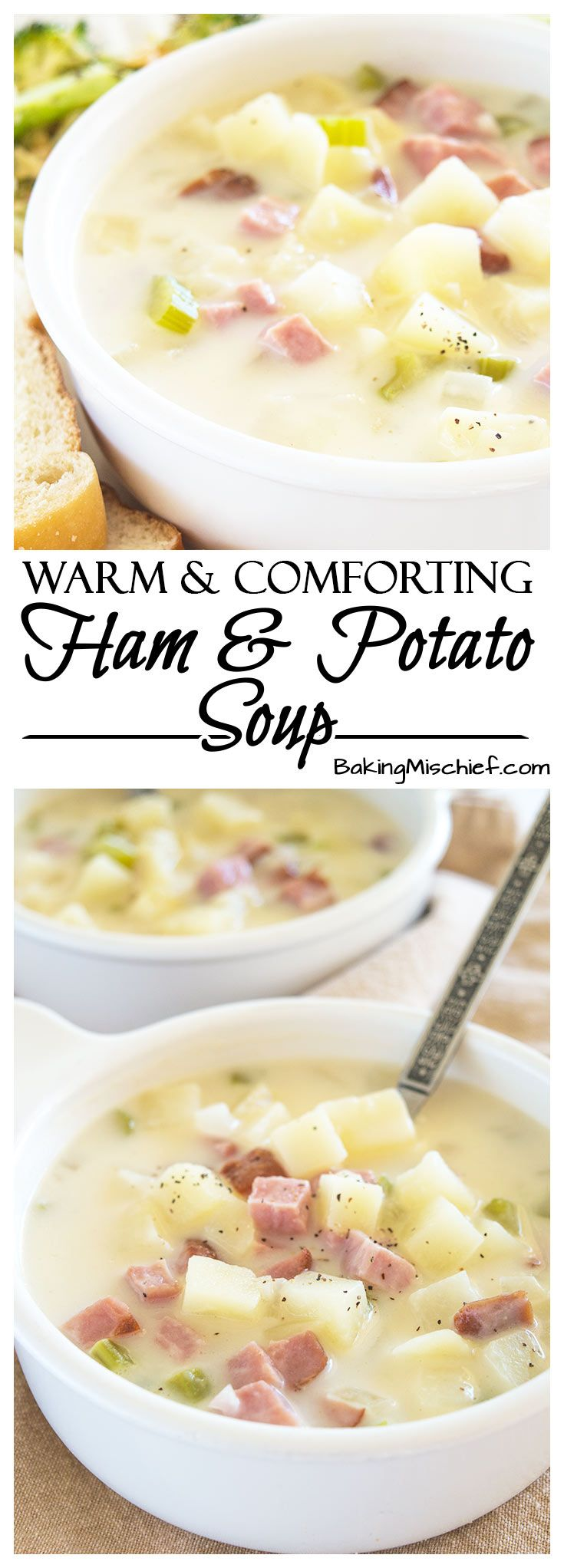Easy and Comforting Ham and Potato Soup - Pure comfort food in a bowl. Easy, fast, and low-calorie, this is one of my favorite busy weeknight meals. Recipe includes nutritional information and make-ahead instructions. From BakingMischief.com