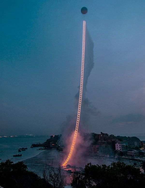 """Cai Guo-Qiang's Dazzling 1,650ft """"Sky Ladder"""" Made of Fireworks Climbs into the Heavens"""