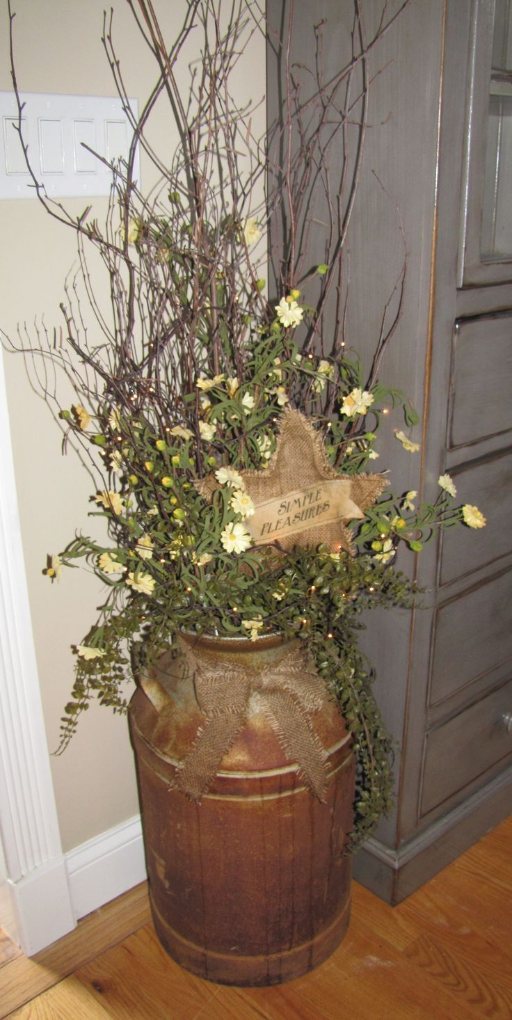 Large Rusty Milk Can Comes Complete With Tiny White Rice Lights, Twigs,  Greenery,