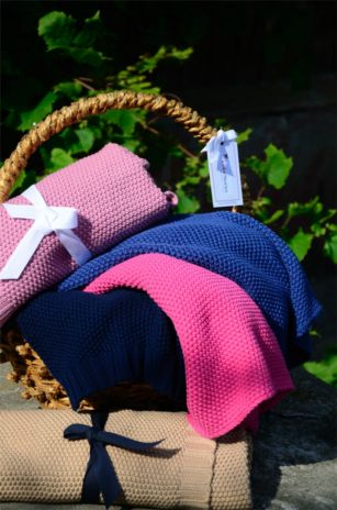 Beautiful knitted blankets perfect to keep your little one warm. Available in Vibrant Pink, Cornflower Blue and Grey.