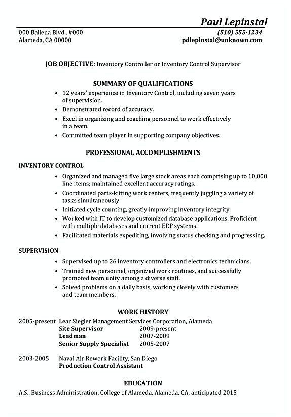 Functional Resume Sample Inventory Control Supervisor , Inventory